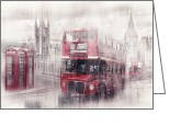 Old Street Greeting Cards - City-Art LONDON Westminster Collage II Greeting Card by Melanie Viola