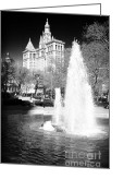 John Rizzuto Greeting Cards - City Hall Park Fountain 1990s Greeting Card by John Rizzuto