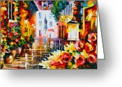 Leonid Afremov Greeting Cards - City of Roses Greeting Card by Leonid Afremov