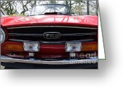 Mary Deal Greeting Cards - Classic Triumph TR6 Front End Greeting Card by Mary Deal