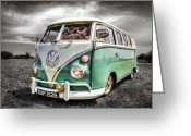Campervan Greeting Cards - Classic VW Camper Van Greeting Card by Ian Hufton