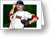 Red Sox Drawings Greeting Cards - Clay Buchholz Greeting Card by Dave Olsen