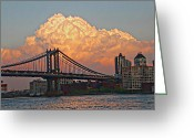 Brooklyn Bridge Mixed Media Greeting Cards - Clouds over the Brooklyn Brtidge Greeting Card by Leon Pinkney