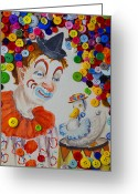 Holes Greeting Cards - Clown and duck with buttons Greeting Card by Garry Gay