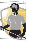 Coal  Greeting Cards - Coal-miner-pick-ax-shield Greeting Card by Aloysius Patrimonio