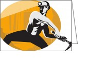Coal  Greeting Cards - Coal Miner With Pick Ax Striking Retro Greeting Card by Aloysius Patrimonio