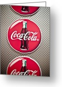 Bottle Cap Photo Greeting Cards - Coca-Cola Greeting Card by Jessica Berlin