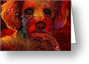 Dog Prints Digital Art Greeting Cards - Cockapoo Greeting Card by Marlene Watson