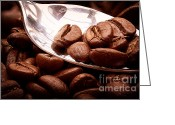 Simon Bratt Photography Greeting Cards - Coffee beans on spoon Greeting Card by Simon Bratt Photography