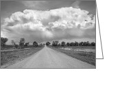 Country Dirt Roads Photo Greeting Cards - Colorado Country Road Stormin BW Skies Greeting Card by James Bo Insogna