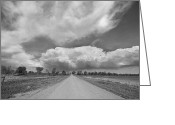 Country Dirt Roads Photo Greeting Cards - Colorado Country Road Stormin Skies BW Greeting Card by James Bo Insogna