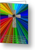 Religious Artist Digital Art Greeting Cards - Colorburst Cross With Hosea 13 14 Greeting Card by Dave Walton