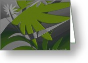 Palm Leaf Digital Art Greeting Cards - Colored Jungle Green Greeting Card by Ben and Raisa Gertsberg