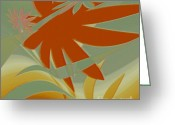 Palm Leaf Digital Art Greeting Cards - Colored Jungle Orange Splash Greeting Card by Ben and Raisa Gertsberg