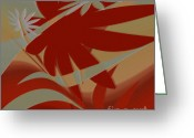 Palm Leaf Digital Art Greeting Cards - Colored Jungle Red Greeting Card by Ben and Raisa Gertsberg
