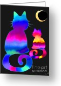 Nick Gustafson Greeting Cards - Colorful Cats and the Moon Greeting Card by Nick Gustafson