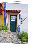 Old World Photography Greeting Cards - Colorful Door of Obidos Greeting Card by David Letts