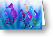 Sea Life Digital Art Greeting Cards - Colorful Sea Horses Greeting Card by Nick Gustafson