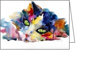 Cat Picture Greeting Cards - Colorful Tubby cat painting Greeting Card by Svetlana Novikova