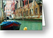 Old Relics Greeting Cards - Colorful Venice Italy Greeting Card by Jan Moore