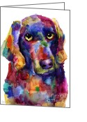 Funny Pet Picture Greeting Cards - Colorful Weimaraner Dog art painted portrait painting Greeting Card by Svetlana Novikova