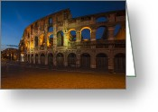 Dusk Greeting Cards - Colosseum Greeting Card by Erik Brede