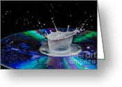 Compact Disks Greeting Cards - Colourful liquid droplet Greeting Card by Guy Viner