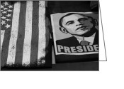 President Obama Greeting Cards - COMMERCIALIZATION OF THE PRESIDENT OF THE UNITED STATES OF AMERCIA in BLACK AND WHITE  Greeting Card by Rob Hans
