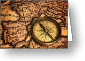 Compass Greeting Cards - Compass and Ancient Map of Europe Greeting Card by Colin and Linda McKie