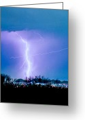 Storm Prints Greeting Cards - Contrail Going Through a Lightning Bolt Greeting Card by James Bo Insogna