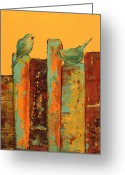 Red Bird Greeting Cards - Conversations Greeting Card by Laura Sue