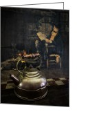 Fire Houses Greeting Cards - Copper Teapot Greeting Card by Debra and Dave Vanderlaan