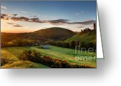 Simon Bratt Photography Greeting Cards - Corfe Castle sunrise panoramic Greeting Card by Simon Bratt Photography