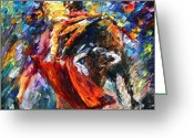 Leonid Afremov Greeting Cards - Corrida 4 Greeting Card by Leonid Afremov