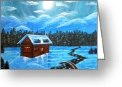 Snowy Night Greeting Cards - Cottage and snowy mountains Greeting Card by Mehveen Khan