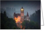 Count Dracula Greeting Cards - Count Dracula Castle Greeting Card by Javier V Sanchez