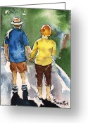 Husband And Wife Greeting Cards - Couple in Love Walking Away Greeting Card by Sharon Mick