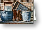 Old Mills Greeting Cards - Cowboys Have Laundry Too Greeting Card by Paul Ward
