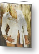 Babe Mixed Media Greeting Cards - Cowgirl Fashion Greeting Card by Michael Knight