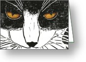 One Animal Painting Greeting Cards - Cross Kitty Greeting Card by Kerrie  Hubbard