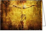 Way Of The Cross Greeting Cards - Crucified Via Dolorosa 12 Greeting Card by Lianne Schneider