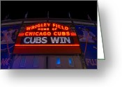 Wrigley Greeting Cards - Cubs Win Greeting Card by Steve Gadomski