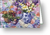 Jugs Greeting Cards - Daffodils Tulips and Iris in a Jacobean Blue and White Jug with Sanderson Fabric and Primroses Greeting Card by Joan Thewsey
