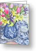 Vases Greeting Cards - Daffodils Tulips and Irises with Blue Antique Pots  Greeting Card by Joan Thewsey