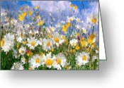 Buttercups Greeting Cards - Daisies On A Hill - Impressionism Greeting Card by Zeana Romanovna