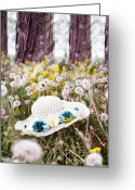 Lay Greeting Cards - Dandelion Field Greeting Card by Stephanie Frey