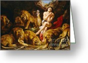 Lions Painting Greeting Cards - Daniel in the Lions Den Greeting Card by Pg Reproductions