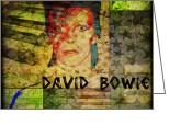 Aladdin Greeting Cards - David Bowie Greeting Card by Absinthe Art  By Michelle Scott