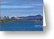 Diamond Head Greeting Cards - Diamond Head from Lagoon Drive Greeting Card by Craig Wood