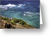 Diamond Head Greeting Cards - Diamond Head Lighthouse Greeting Card by Joanna Madloch